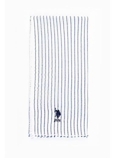 Akel U.S.Polo Assn Emp Çizgili Pamuk Fular P30379 V20 Ekru